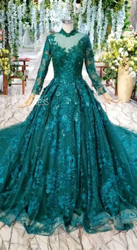 long sleeve vintage emerald green prom dresses luxury