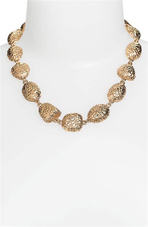 st john hammered pebble necklace  gold light gold