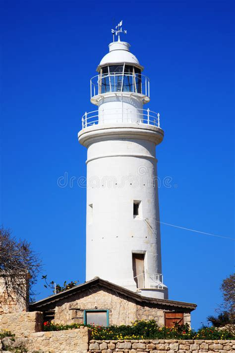paphos lighthouse stock    royalty