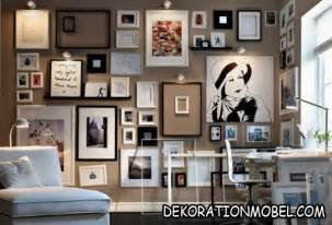 wanddeko wohnzimmer landhausstil coole wanddeko grüne wand bilderrahmen golden 20 09 2017 decorationomobel