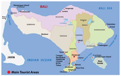 bali map areas topography regencies