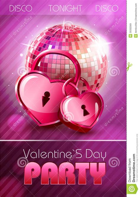valentine disco poster  hearts royalty  stock