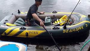 Intex seahawk 3 person inflatable boat youtube for Seahawk 4 floor dimensions