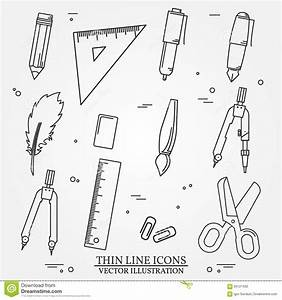 Drawing And Writing Tools Icon Thin Line For Web And Mobile  Stock Vector