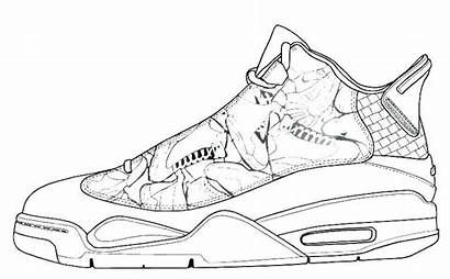 Coloring Shoes Basketball Pages Drawing Sneaker Drawings