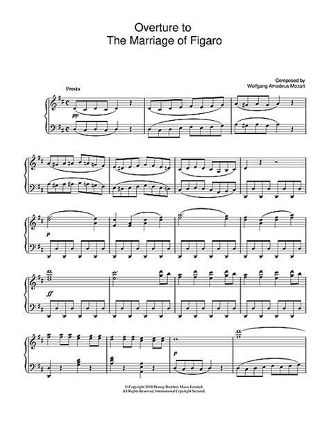 overture to the marriage of figaro sheet music by wolfgang