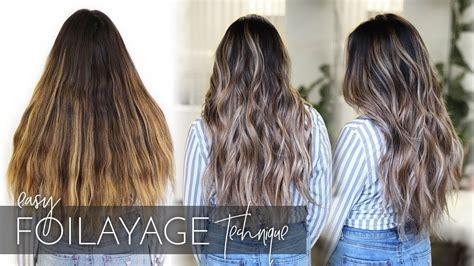 balayage dark long  thick hair foilayage