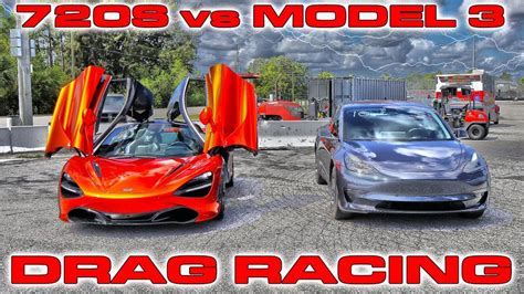 First Tesla Model 3 1/4 Mile Testing Vs Mclaren 720s