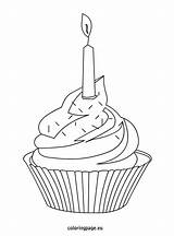 Cupcake Cupcakes Coloring Candle Sprinkles Birthday Adult Pages Template Colorful Easy Books Icolor sketch template