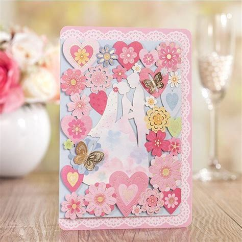 Cheap Elegant Butterfly Wedding Invitation Cards 2016 Pink
