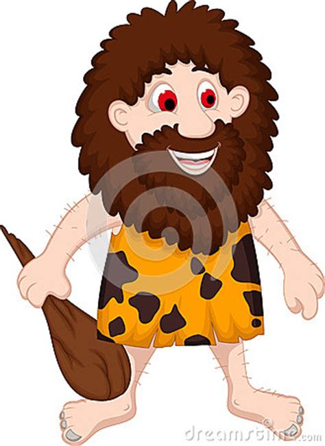 primitive man cartoon royalty  stock photo image