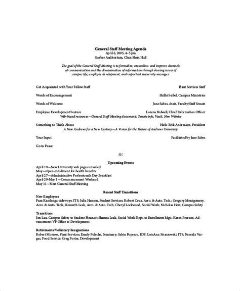 Staff Meeting Agenda Template  10+ Free Word, Pdf