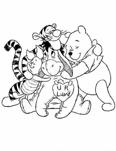 Coloring Hug Pages Bear Pooh Valentines Friends