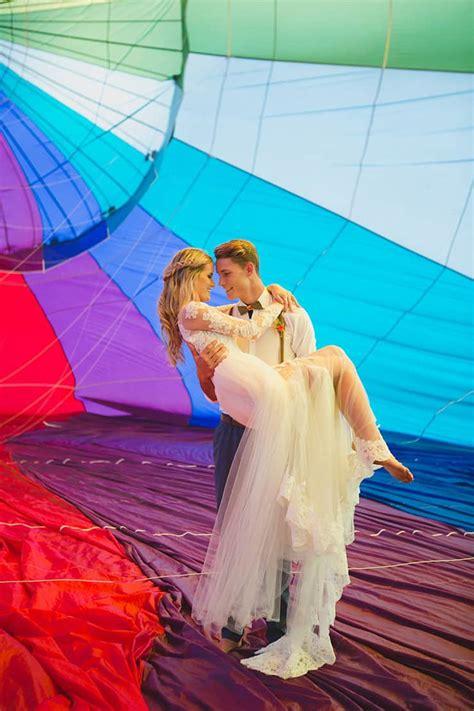 vibrant hot air balloon wedding inspiration  wedding