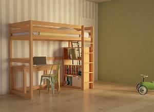 Lit 1 Place Mezzanine : lit mezzanine 1 place en bois massif pour enfant 100 cologique ~ Melissatoandfro.com Idées de Décoration
