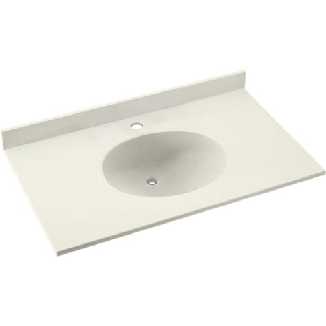 shop swanstone ellipse solid surface bathroom vanity top