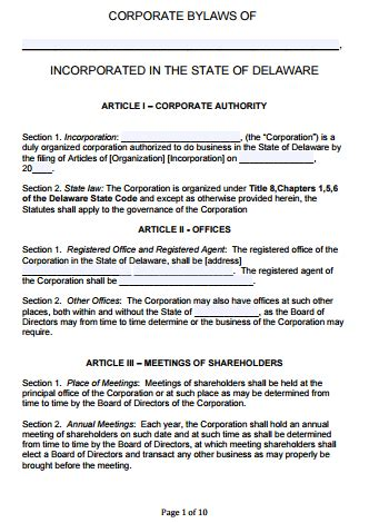 delaware corporate bylaws template  word