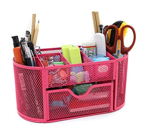 Mesh Desk Organizer Office Supply Caddy Drawer With Pen