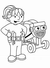 Builder Bob Coloring Train Colouring Printable Sheets Characters Something sketch template