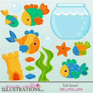 Fish Bowl clipart set comes with 13 cute graphics ...