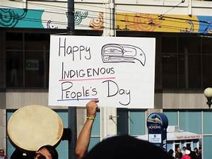Happy Indigenous People's Day Banner In Hand