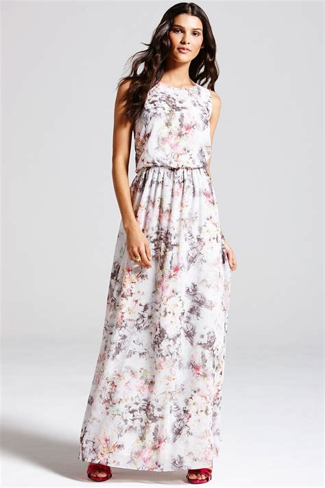 Dress Lusia Maxy grey blurred floral print maxi dress from uk