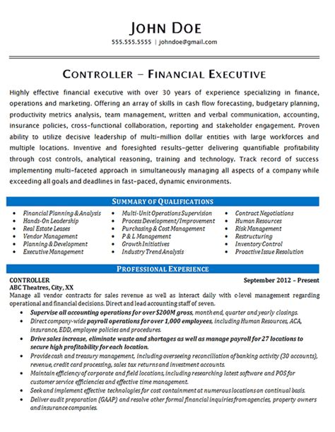 controller resume exle financial operations executive