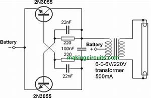 simple 40 watt fluorescent tube emergency light circuit With 40w fluorescent lamp inverter