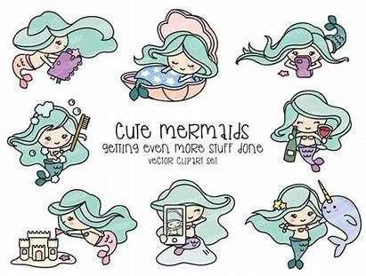 Mermaid Kawaii Clipart Vector Premium Mermaids Unicorn