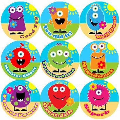 Reward Stickers Praise Teacher Words Monster Children