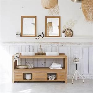 Meuble Sdb Teck : meuble salle de bain en teck brut meubles layang duo tikamoon ~ Teatrodelosmanantiales.com Idées de Décoration