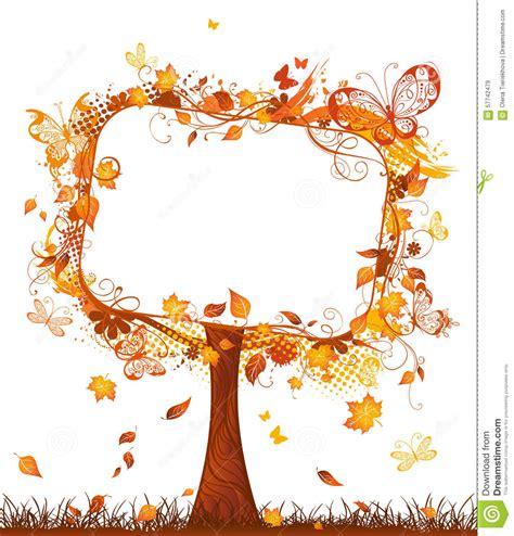 blank sign  autumn tree stock vector illustration