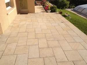 terrasse avec escalier en pierres naturelles granit jaune With terrasse en pierres naturelles