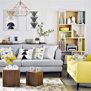 Hermosa Decoración De Salas Color Gris Con Amarillo (26 ...