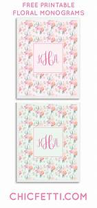 Free printable floral monograms from chicfetti great for wall art or binder cover free for Chicfetti monograms