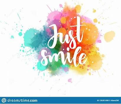 Smile Watercolor Splash Lettering Appena Spruzzata Acquerello