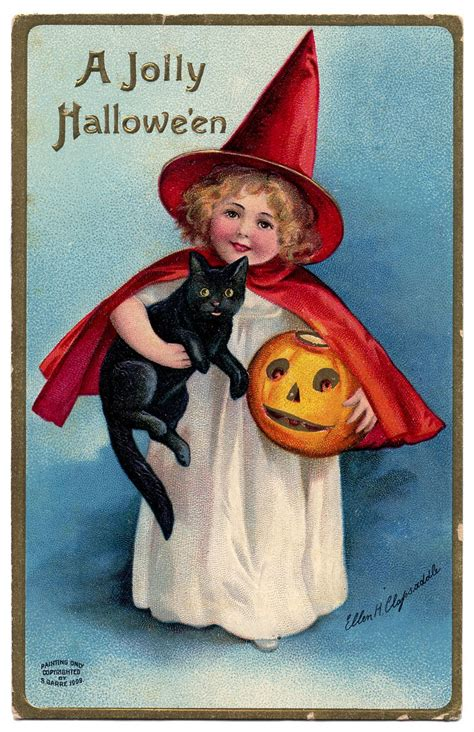 vintage halloween clip art darling  witch girl  graphics fairy