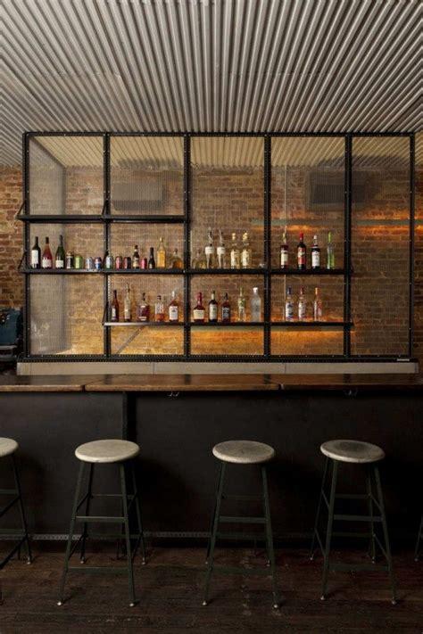 unique bar textured industrial ceiling metal wood