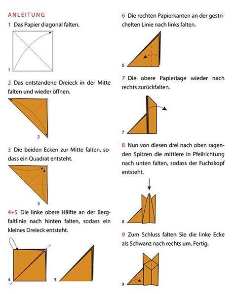 origami fuchs anleitung origami fuchs falten anleitung geolino