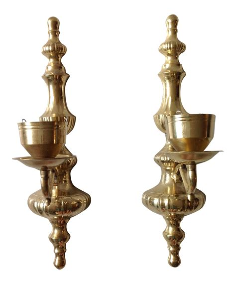 brass wall sconce candle holders pair chairish