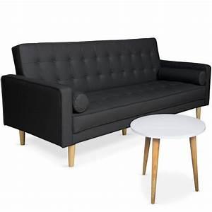Canape Convertible Noir : canap convertible scandinave noir table basse scandinave blanc pas cher scandinave deco ~ Teatrodelosmanantiales.com Idées de Décoration