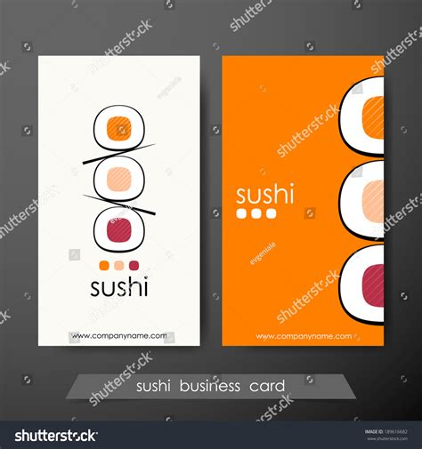 sushi business cards design template text stock vector