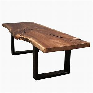 Hand made live edge black walnut wood coffee table by for Black reclaimed wood coffee table