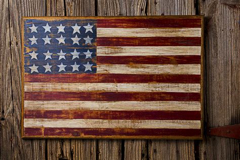 Corrugated Metal Decor by Wooden American Flag On Wood Wall Photograph By Garry