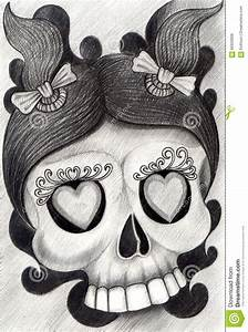 Art Girl Skull Tattoo. Stock Illustration - Image: 66603668