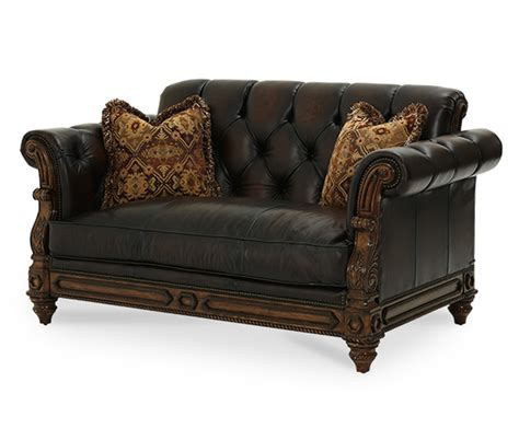 traditional leather loveseat michael amini vizcaya dusted umber finish traditional