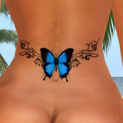 Sexy Butterfly Tattoo Small Lower Back  Blue Butterfly