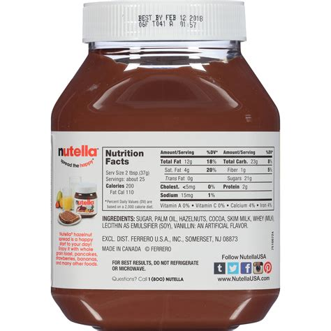 Labels for nutella jars design. Nutella Nutrition Facts Canada - Nutrition Ftempo