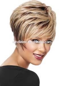Towheaded Short Straight Side Bang Multi-Layered Heat-Resistant Capless Women's Ombre Wig