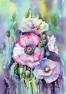 Aquarell Malen Blumen : shirley poppies von ann mortimer aquarell blumen ~ Articles-book.com Haus und Dekorationen
